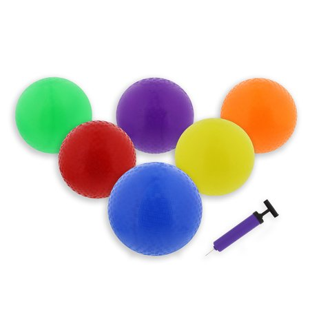 Get Out   8 5  Inch Rubber Playground Four Square Balls 6 Pack With Hand Pump