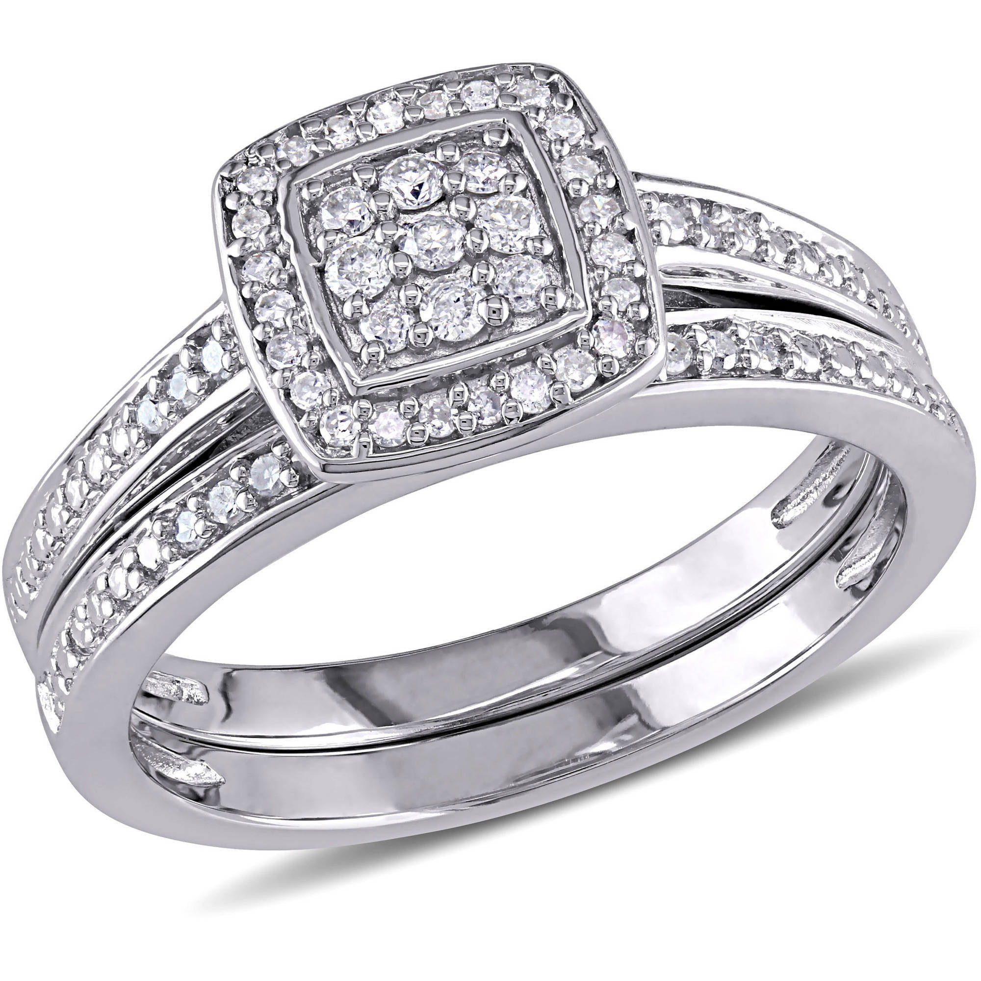 Miabella 14 Carat TW Diamond Sterling Silver Halo Bridal Set