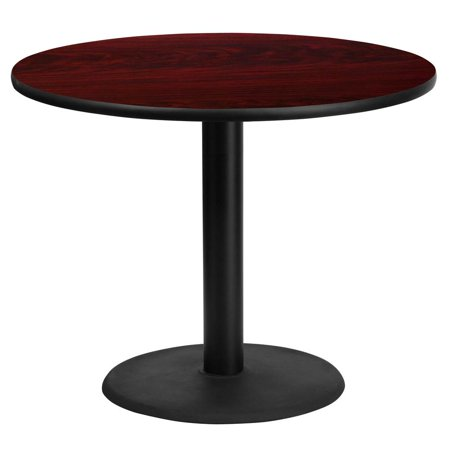 36'' Round Mahogany Laminate Table Top with 24'' Round Table Height