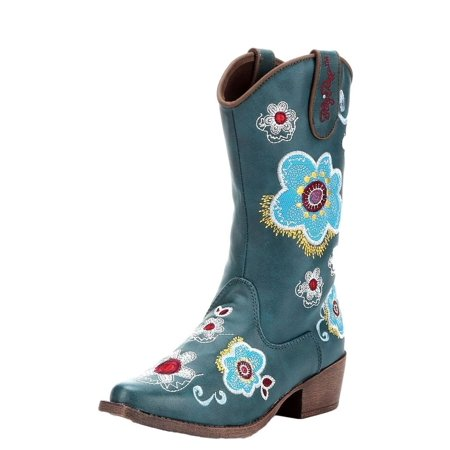 Blazin Roxx 4410333-05.5 Sage Floral Embroidered Side Zipper Cowgirl Boot Snip Turquoise - Size 5.5 ()