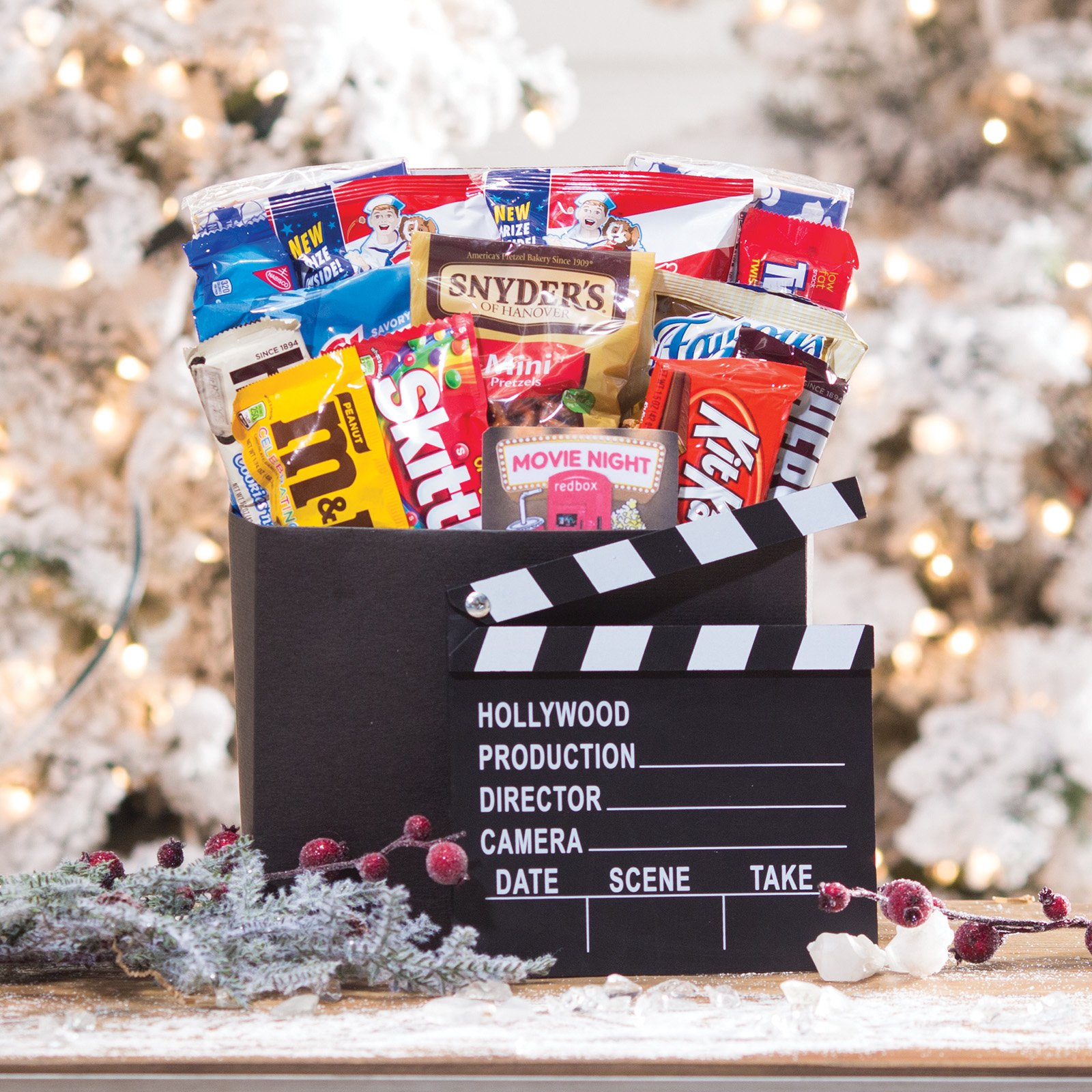 Family Flix Movie Night Gift Box with Red Box Gift Card by Gift Basket Drop Shipping