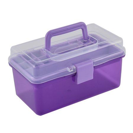 - Plastic Dual Layers Screws Nuts Sundries Container Storage Box Case Purple