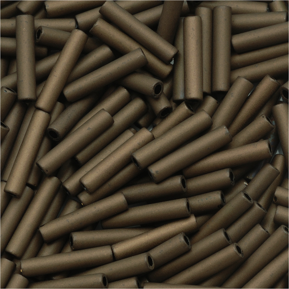 Toho Bugle Tube Beads Size #3 2x9mm Matte Dark Copper  10 Grams