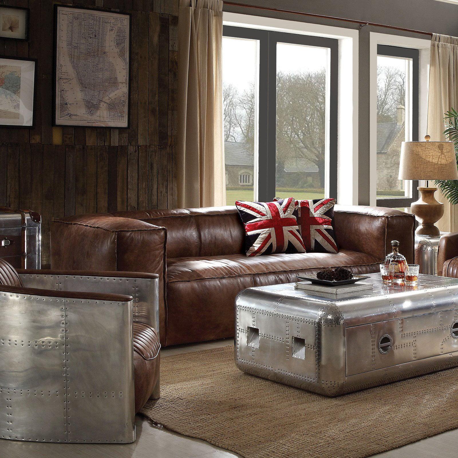 ACME Brancaster Retro Top Grain Leather Sofa, Brown