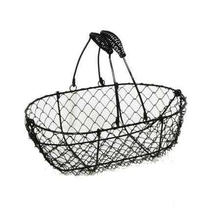 Stella Black Mini Oblong Wire Basket 9in