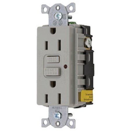 New Gfci Duplex Receptacle With Cover Plate hubbell Gfrst52mgy Gray Rating 15A
