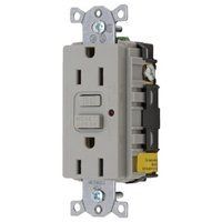 New Gfci Duplex Receptacle With Cover Plate hubbell Gfrst52mgy Gray Rating 15A 125V