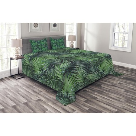 Tropic Palm Camel (Leaf Bedspread Set, Watercolored Old Design Print of Palm Tropic Exotic Forest Leaves, Decorative Quilted Coverlet Set with Pillow Shams Included, Dark Green and Forest Green, by Ambesonne )