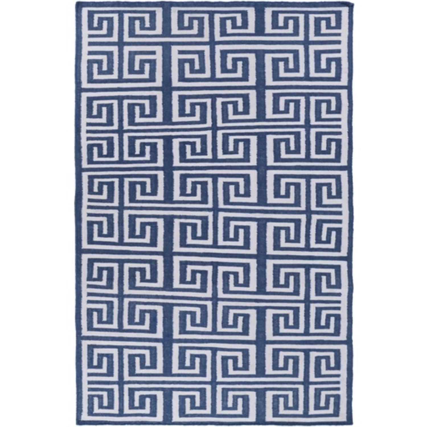 5' x 8' Magical Mazes Navy Blue and Ivory Hand Woven Area Throw Rug
