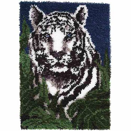 Tiger Kit (Caron Wonderart Latch-Hook Kit, White)