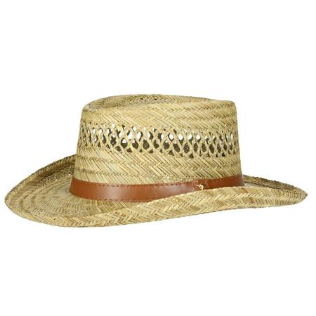 6ca345cae7b Dorfman Pacific Rush Straw Lightweight Gambler Hat with Wide Brim - image 1  of 7 ...