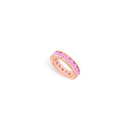 4ct Created Pink Sapphire Eternity Rings Stackable Band in Channel Set on 14K Rose Gold Vermeil - image 2 de 2
