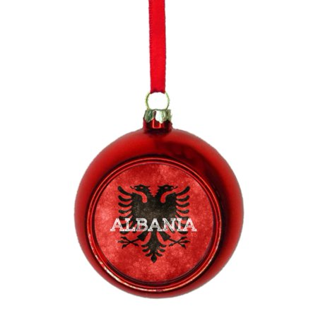 Flag Albania - Albanian Grunge Flag Bauble Christmas Ornaments Red Bauble Tree Xmas Balls