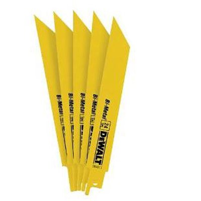 DEWALT DW4813 6-Inch 24 TPI Straight Back Bi-Metal Reciprocating Saw Blade, 5-Pack