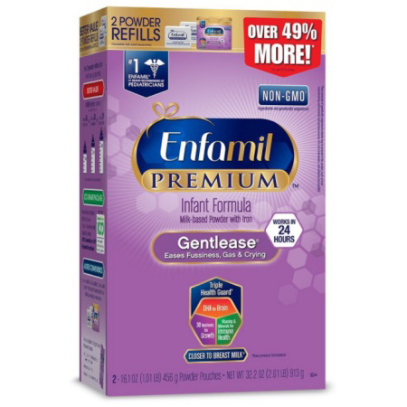 Enfamil PREMIUM Gentlease Gentle Infant Formula, Powder, 32.2 Ounce Refill Box