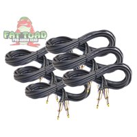 Guitar Cords (6 Pack) Instrument Cable by Fat Toad 2 FT 1/4 Inch Straight-End Wires for Electric or Acoustic Guitar, Bass, Keyboards and Music Sound Recording Studio Shielded 2 AWG Patch Conductor