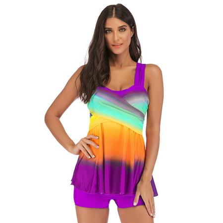 Women's Tankini Set Gradient Cross Racerback Ruffle Swimdresses Swimwear Swimsuit Bathing Suit Top and Shorts Plus Size Beach Wear