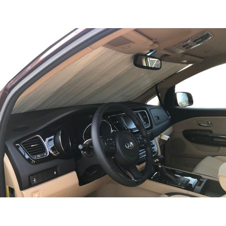 The Original Windshield Sun Shade, Custom-Fit for Kia Sedona Minivan w/o Sensor 2014, 2015, 2016, 2017, 2018, 2019, Silver (Best Minivan For Snow 2019)
