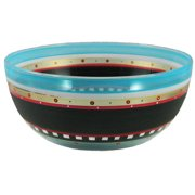 """Mosaic Chalkboard and Stripes Hand Painted Glass Serving Bowl 11"""""""
