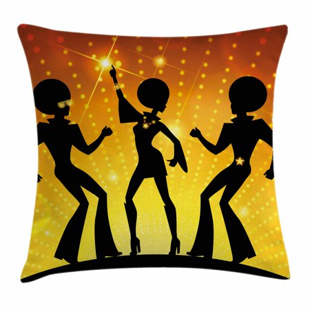 70s Party Decorations Throw Pillow Cushion Cover, Dancing People Disco Night Club Afro Hairs Gold Colored Bokeh, Decorative Square Accent Pillow Case, 18 X 18 Inches, Black Gold Yellow, by Ambesonne](70s Disco Dancing)