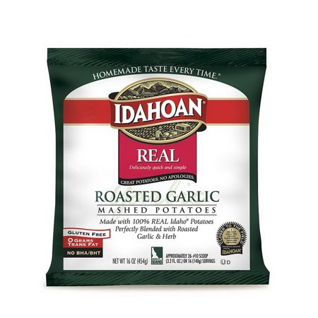 Idahoan Foods 2970000343 8/32 Oz Idahoan Roasted Garlic Real Mash Potato Made From 100% Idaho Potatoes. Creamy Garlic Mashed Potatoes