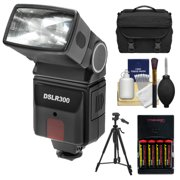 Precision Design DSLR300 Universal High Power Auto Flash with Zoom/Bounce/Swivel Head for Digital SLR Cameras + Tripod + Batteries + Charger + Case + Cleaning Kit