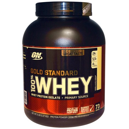 Optimum Nutrition, Gold Standard, 100% Whey, Vanilla Ice Cream, 5 lb (2.27 kg)(pack of 1) Bag Ice 10 Lb Printed