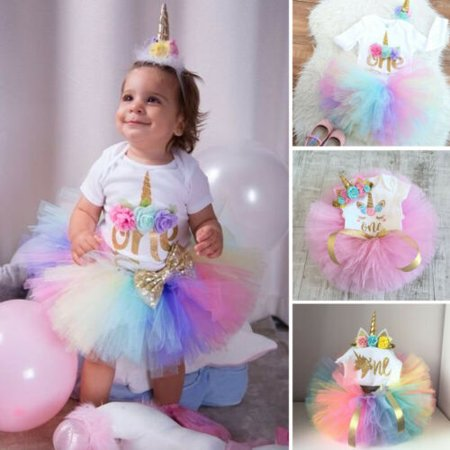 3PCS Baby Girls 1st Birthday Outfit Party Romper Skirt Cake Smash Tutu Dress Patty Cake Dress
