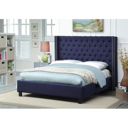 Meridian Furniture Ashton King Size Bed in Navy Chrome Nailheads Contemporary ()