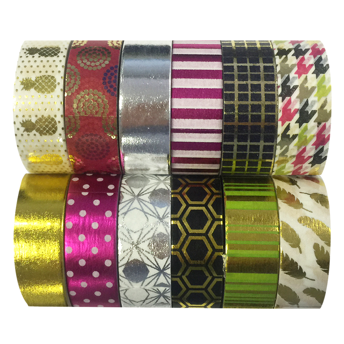 Wrapables® Washi Tapes Decorative Masking Tapes, Set of 12, ADSET63