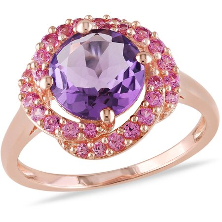 1-7/8 Carat T.G.W. Amethyst and Created Pink Sapphire Pink Rhodium-Plated Sterling Silver Cocktail Ring Amethyst Pink Sapphire Ring