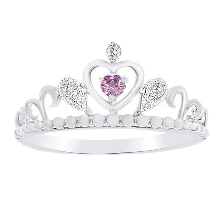 Round Shape White Diamond With Simulated Pink Sapphire Queen Crown Ring In 14K White Gold Over Sterling Silver