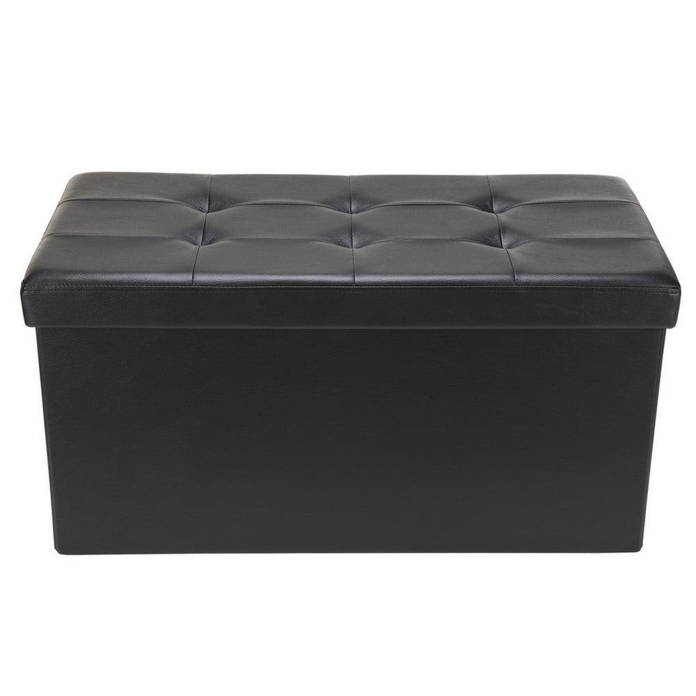 "Homegear 30"" Folding Storage Ottoman   Footstool   Bench Black by"