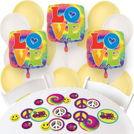 60's Hippie - Confetti and Balloon 1960s Groovy Party Decorations - Combo Kit (60s Decorations)