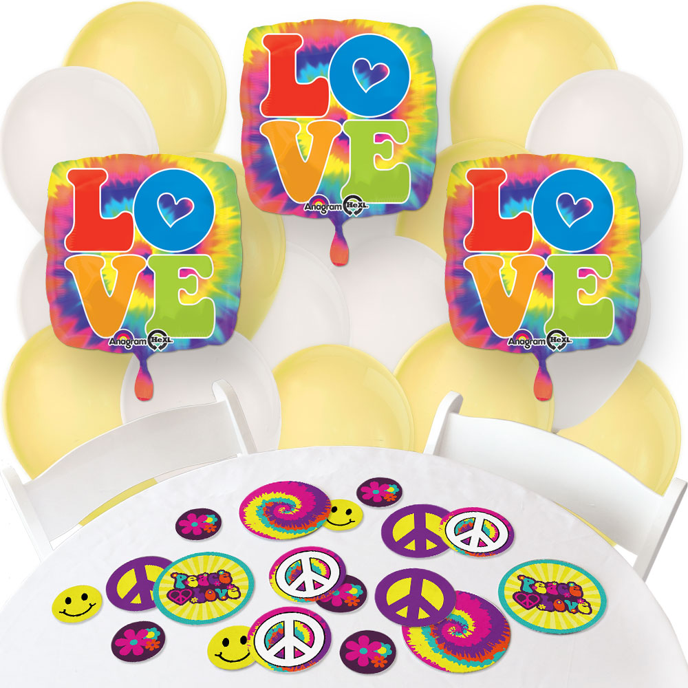 60's Hippie - Confetti and Balloon 1960s Groovy Party Decorations - Combo Kit