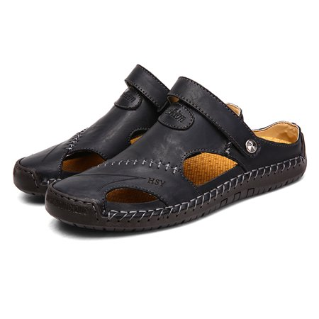 Mens Leather Sandals Shoes Outdoor Walking Fisherman Slippers Closed Toe (Rockport Walking Sandals)