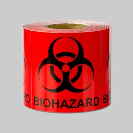 "OfficeSmartLabels 2"" x 2"" Biohazard Labels for Shipping or the Lab (Red, 300 Labels per Roll)"
