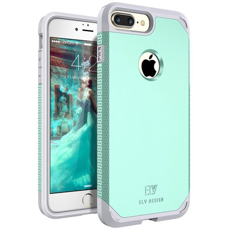 iPhone 7 Plus Case, E LV SHOCK ABSORPTION / HIGH IMPACT RESISTANT Full Body Hybrid Armor Protection Defender Case Cover for Apple iPhone 7 Plus - [MINT / GREY] ()