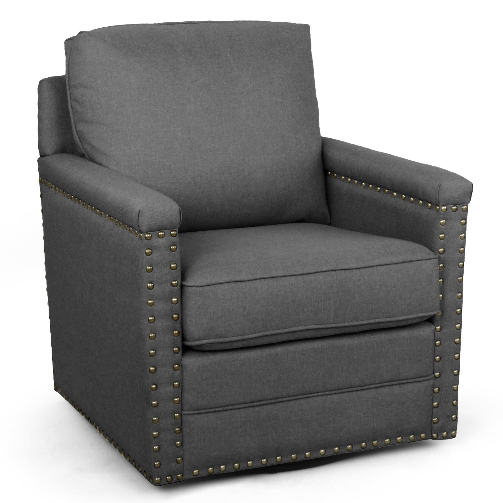 Baxton Studio Ashley Modern and Contemporary Classic Retro Gray Fabric Upholstered Swivel Armchair with Bronze Nailhead... by Wholesale Interiors