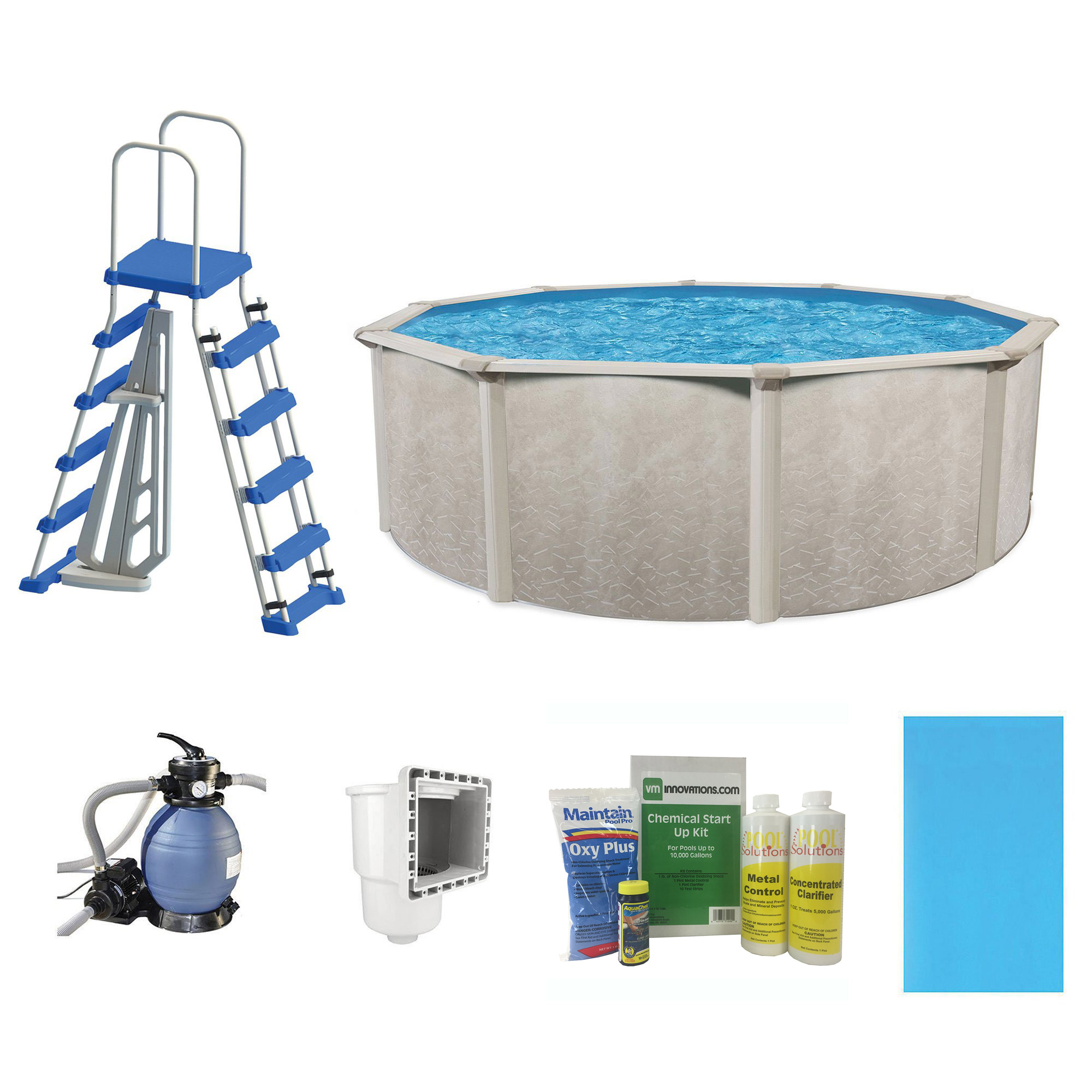 "Phoenix 18' x 52"" Steel Frame Above Ground Swimming Pool with Pump & Ladder Kit by Cornelius"