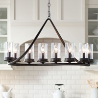 "Franklin Iron Works Bronze Large Linear Island Pendant Chandelier 44"" Wide Modern Rustic Glass Cylinder 10-Light Fixture Kitchen"