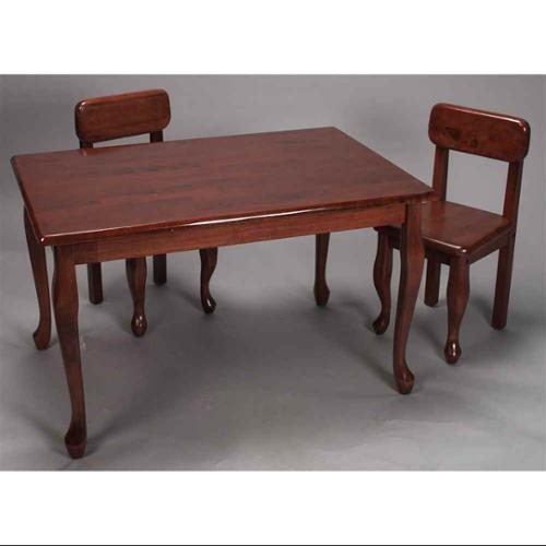 3 Pc Cherry Finished Kids Table & Chair Set
