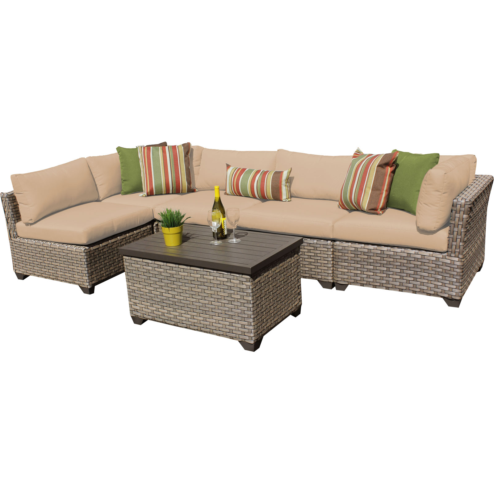 Hampton 6 Piece Outdoor Wicker Patio Furniture Set 06a by TK Classics