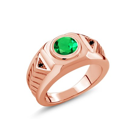 1.68 Ct Simulated Emerald Black Diamond 18K Rose Gold Plated Silver Men