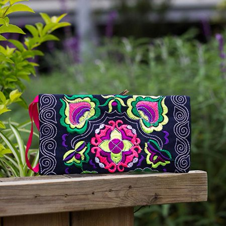 Women Ethnic Handmade Embroidered Wristlet Clutch Bag Vintage Purse Wallet BK