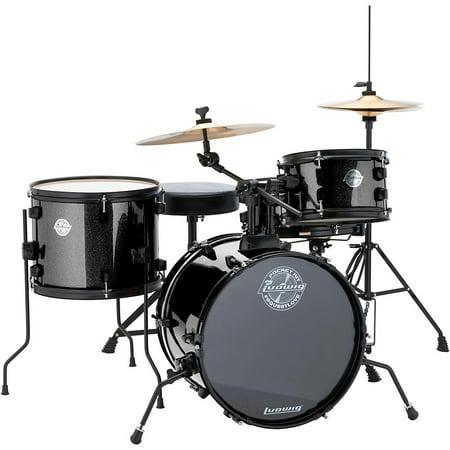 - Ludwig LC178X016 Questlove Pocket Kit 4-piece Drum Set - Black Sparkle