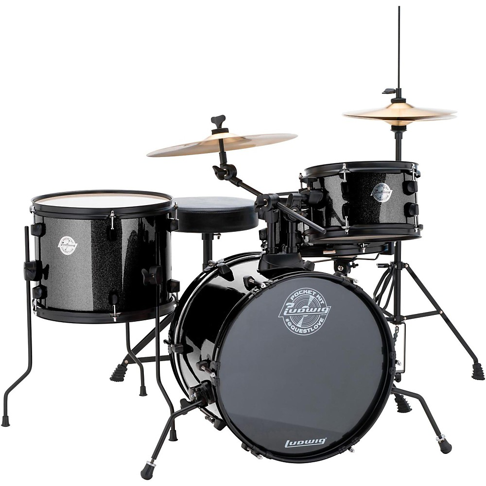 Ludwig LC178X016 Questlove Pocket Kit 4-piece Drum Set - Black Sparkle