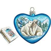 GDeBrekht 744-021 5.5 in. Polar Bear Love Heart Glass Ornament