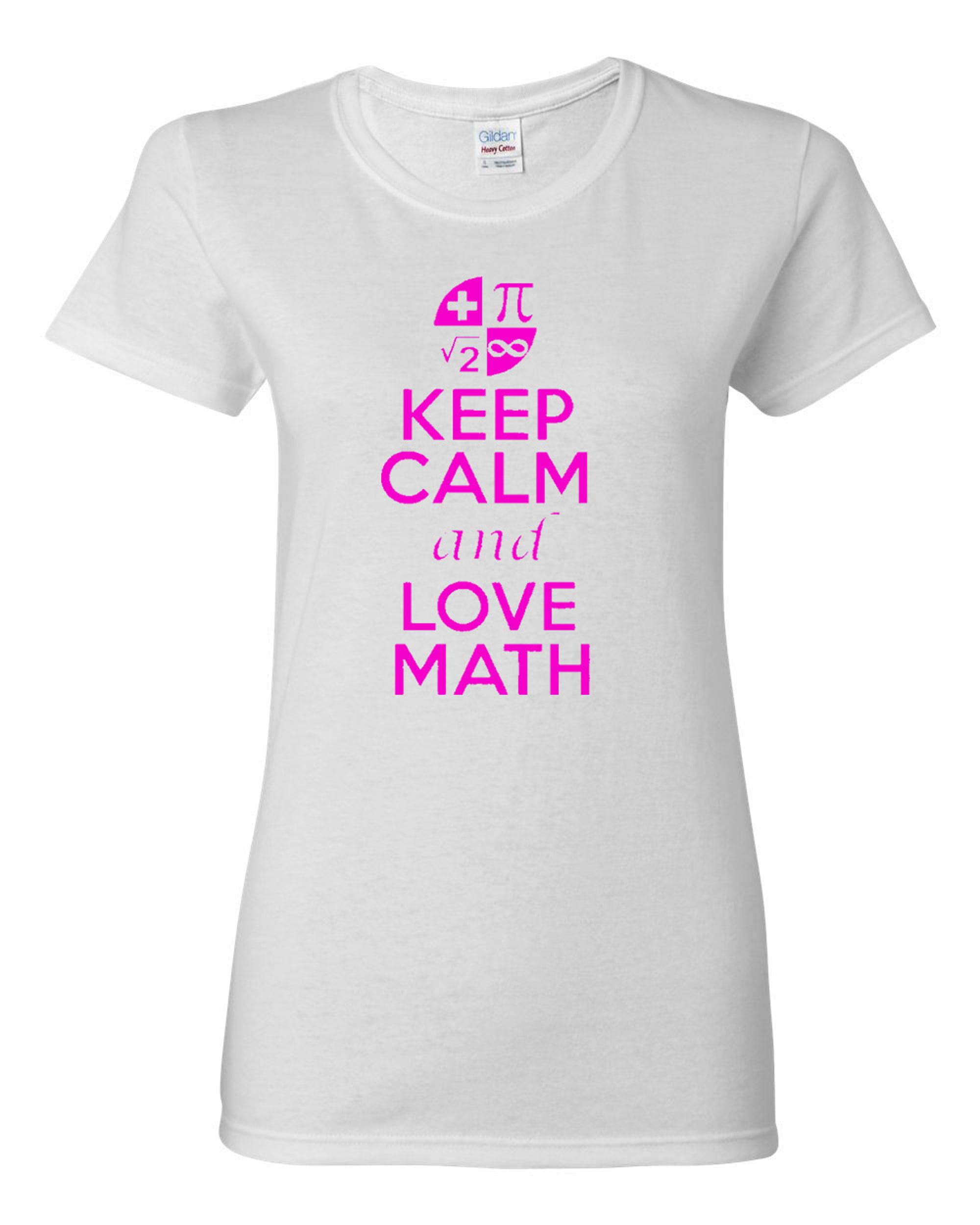 Ladies New Keep Calm and Love Math T-Shirt Tee
