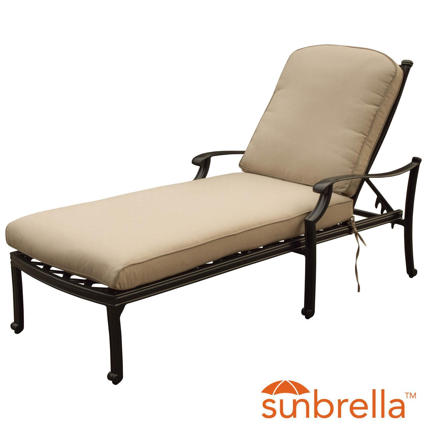 Carondelet Cast Aluminum Patio Chaise Lounge W/ Sunbrella Spectrum Sand Cushions By Lakeview Outdoor Designs